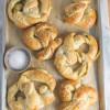 Pesto + Mozzarella Stuffed Soft Pretzels