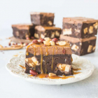 Fudgy Snickers Brownies with Whipped Ganache Frosting
