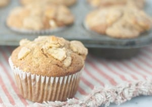 Banana muffins with banana chip streusel