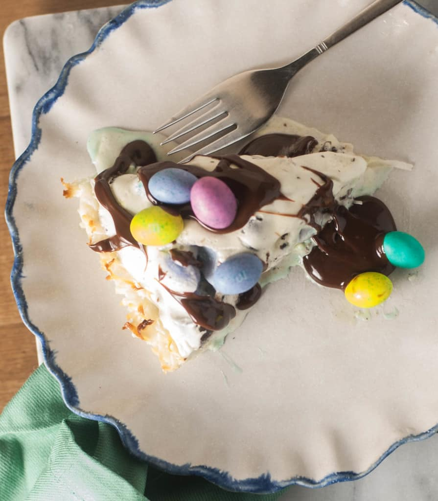 Ice cream, candy, and a coconut macaroon crust–a delicious, quick, and easy dessert for Easter or any time of year.