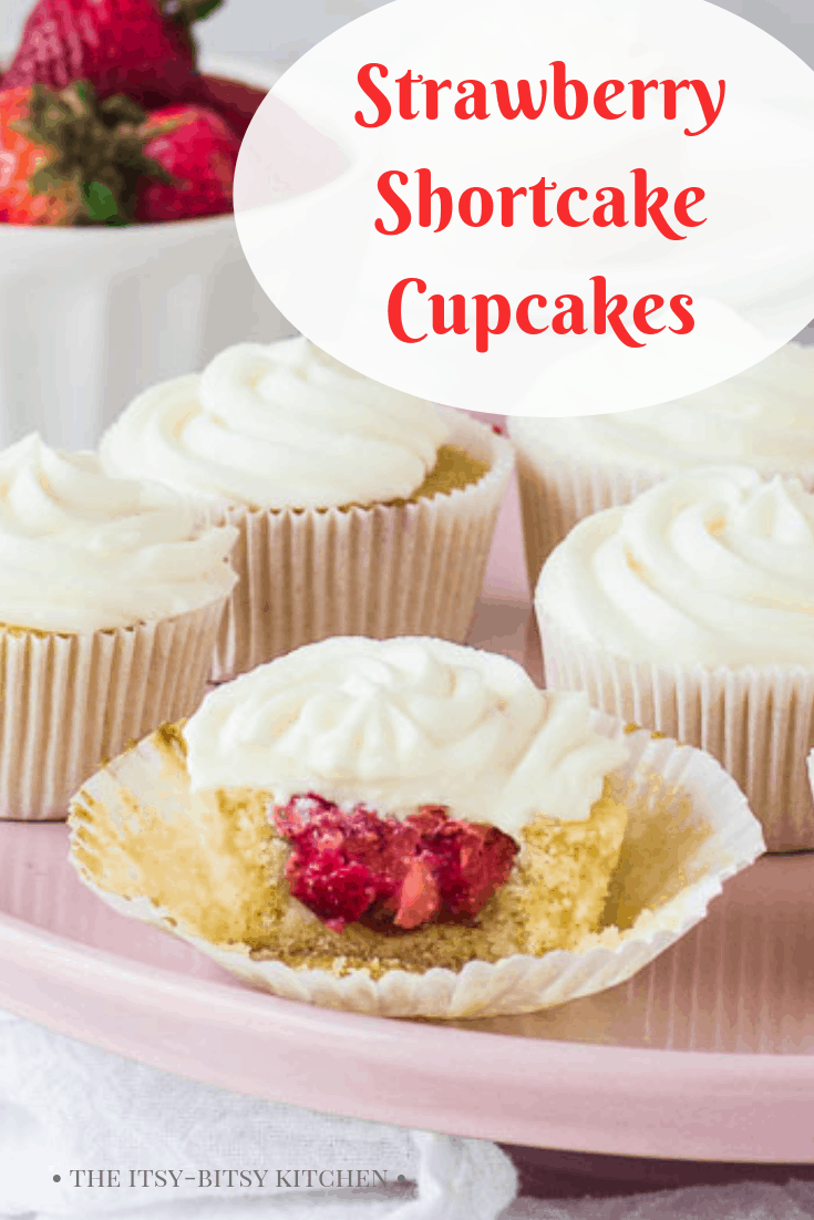 Pinterest image for strawberry shortcake cupcakes with text overlay
