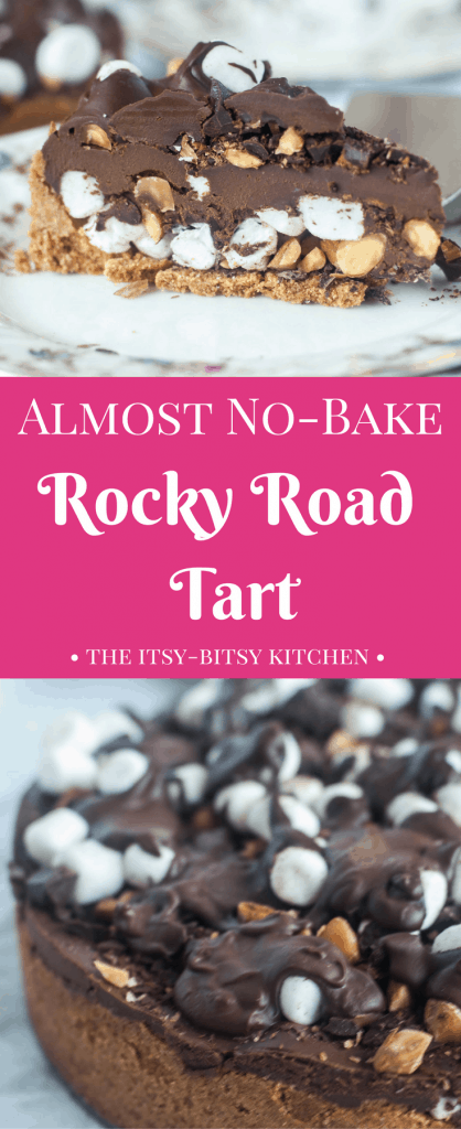 This rocky road tart is an almost no-bake dessert, packed with sweet marshmallows, crunchy nuts, and creamy chocolate. recipe via itsybitsykitchen.com #chocolate #rockyroad #dessert