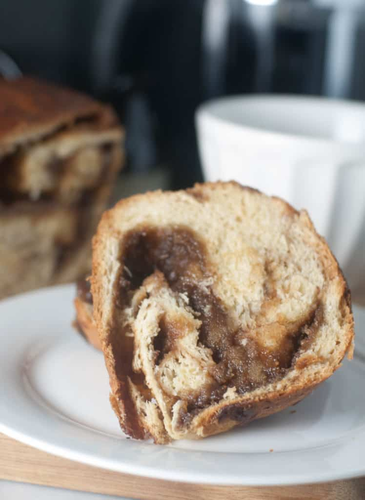A sweet yeasted bread with a delicious cinnamon almond swirl. Great for breakfast, dessert, or a sweet afternoon snack!