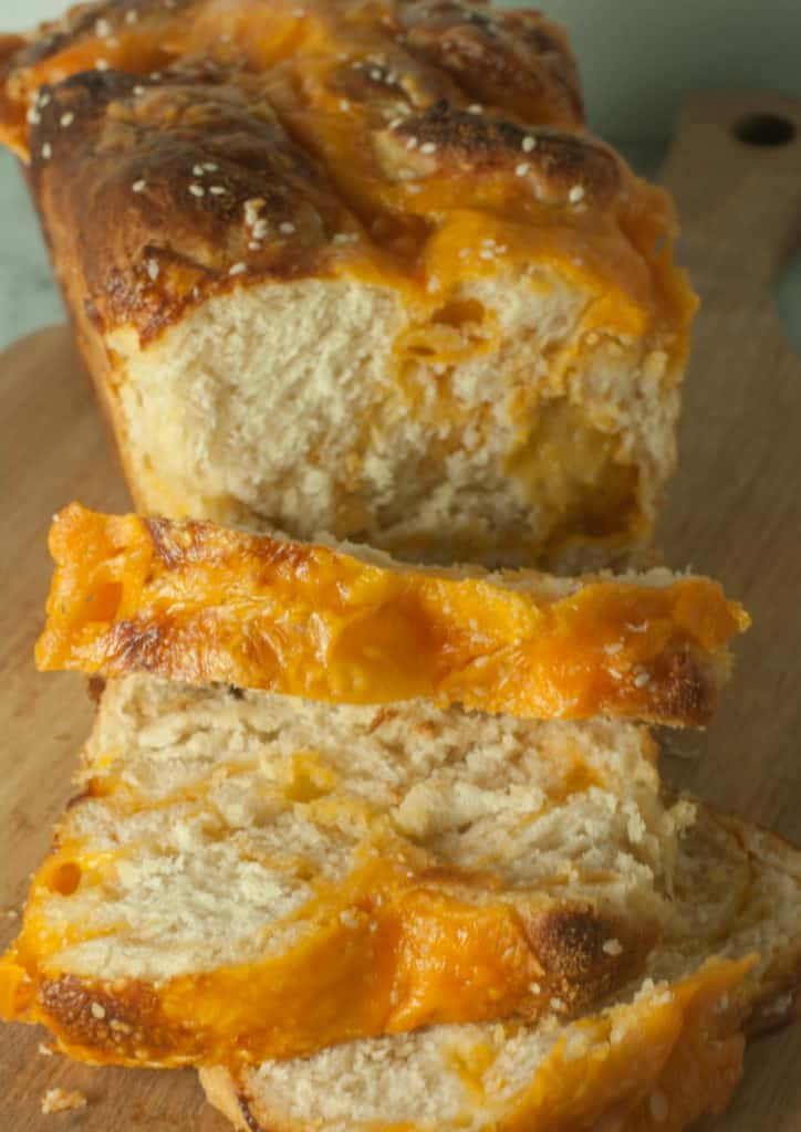 Soft, cheesy, and full of flavor, this cheddar cheese bread is the perfect accompaniment to any meal.