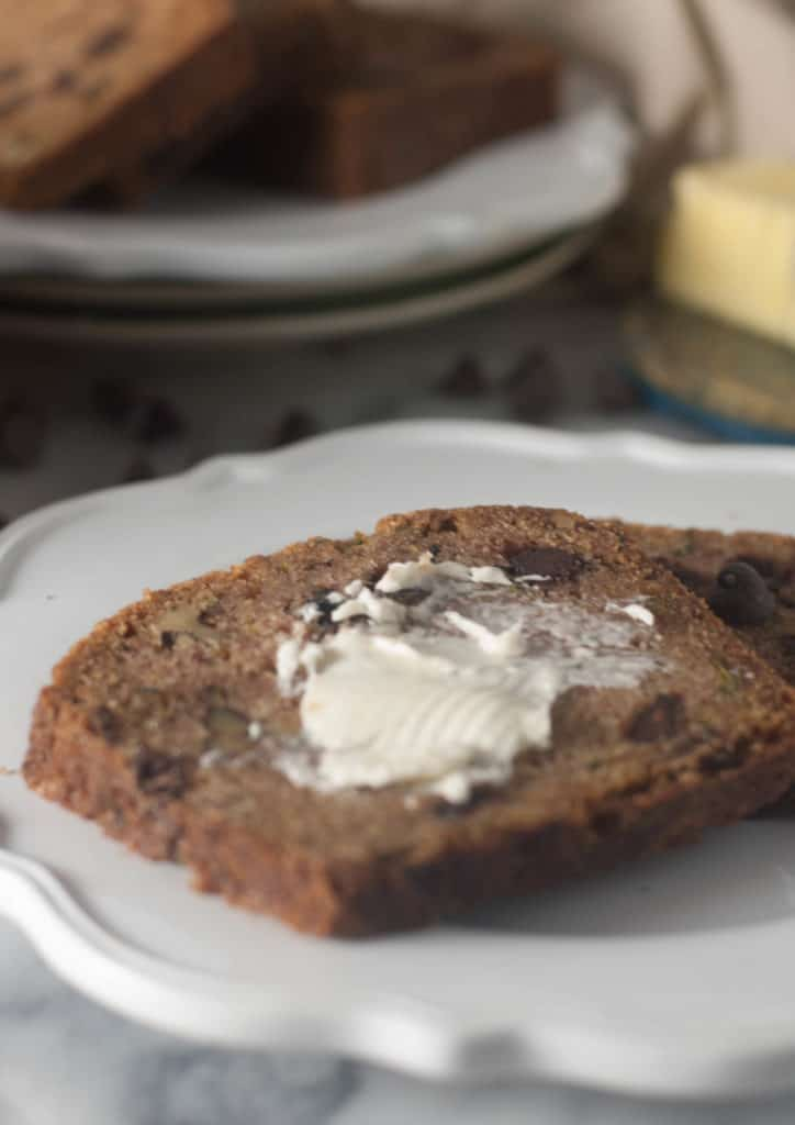 A moist and flavorful quick bread full of chocolate chips, walnuts, and (of course) fresh zucchini flavor.