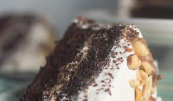Dark Chocolate Cake with Vanilla Peanut Butter Frosting