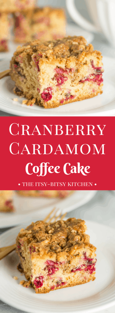 Pinterest image for cardamom cranberry coffee cake with text overlay