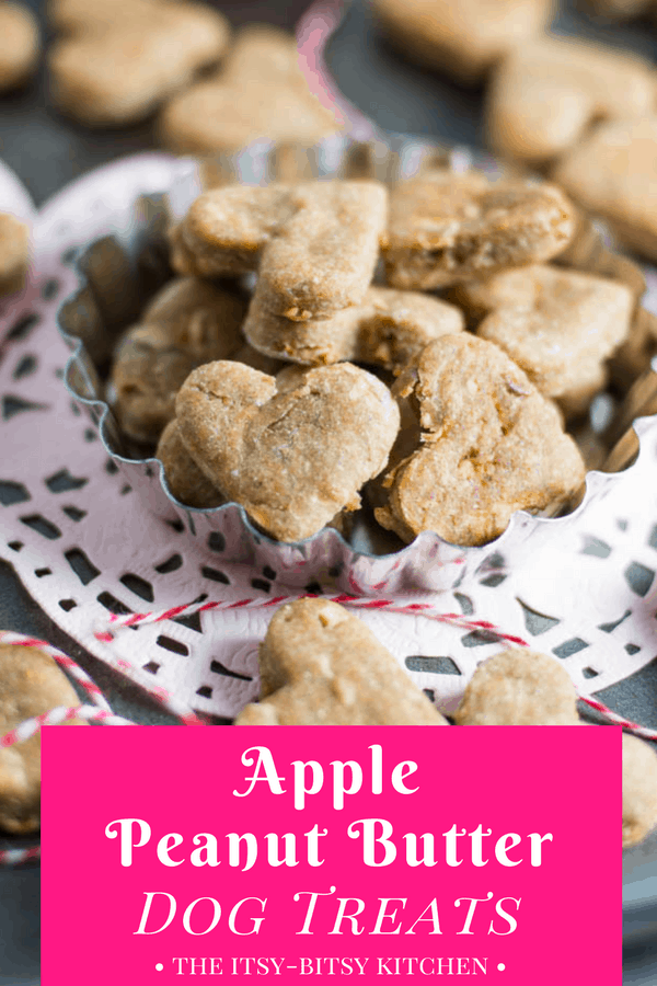 Pinterest image for apple peanut butter dog treats with treats sitting on a doily and text overlay