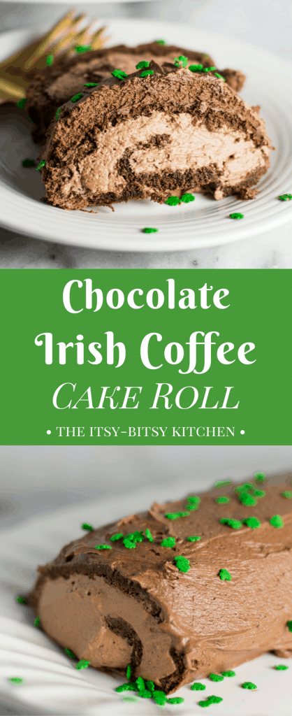 This Irish coffee chocolate cake roll is super chocolatey with hints of whiskey and espresso in the background. It's a great grown-up dessert for St. Patrick's Day, or even just a regular old Tuesday. recipe via itsybitsykitchen.com #chocolate #stpatricksday #irishcoffee