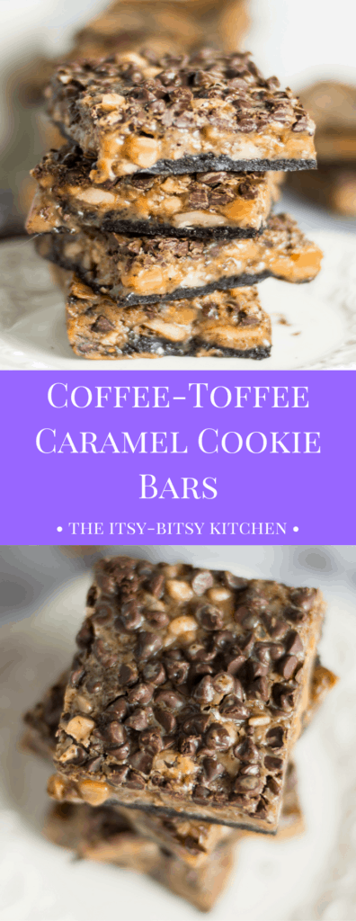 pinterest image for coffee-toffee caramel cookie bars with text overlay
