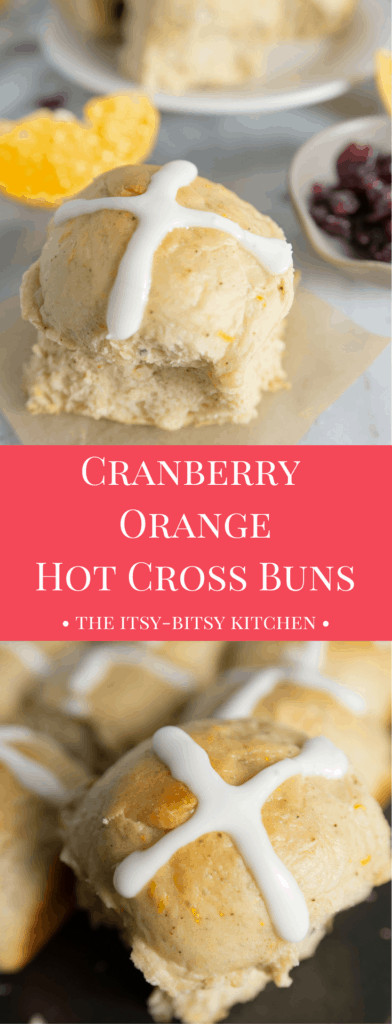 Pinterest image for cranberry orange hot cross buns with text overlay
