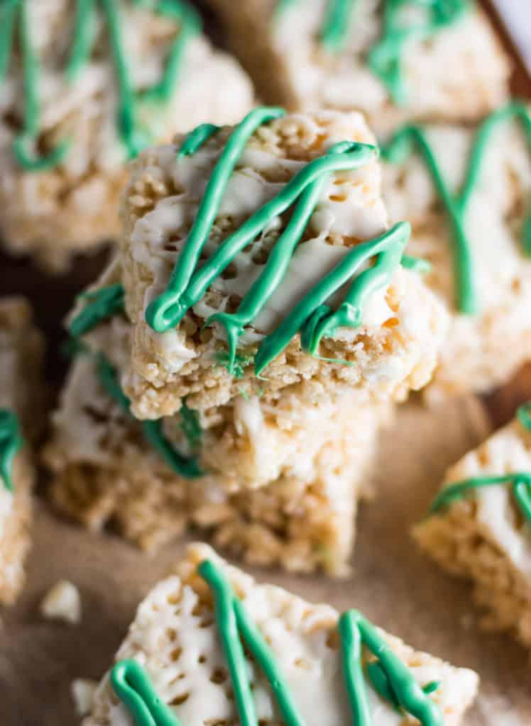 stacks of white chocolate Irish cream Rice Krispie treats cut into bars
