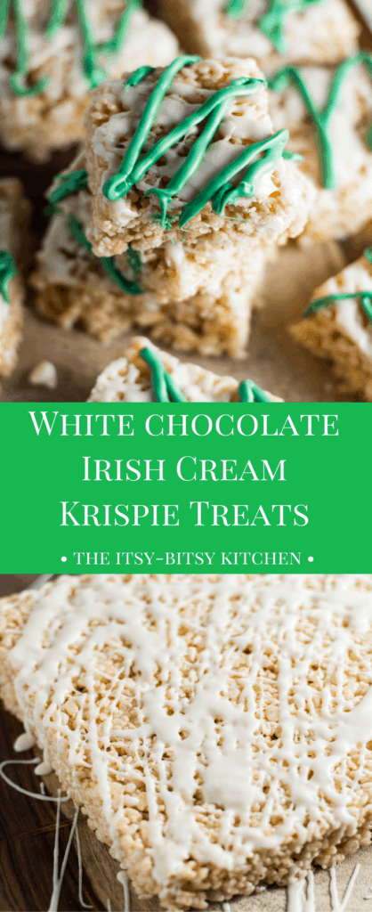 Pinterest description for white chocolate Irish cream Rice Krispie treats with text overlay