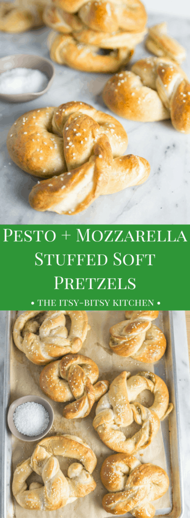 Pinterest image for pesto + mozzarella stuffed pretzels with text overlay