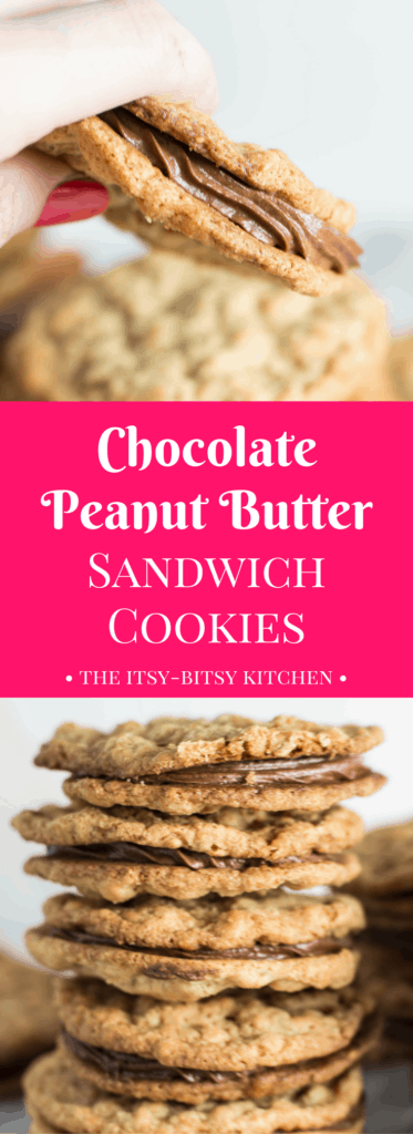 Pinterest image for chocolate peanut butter sandwich cookies with text overlay