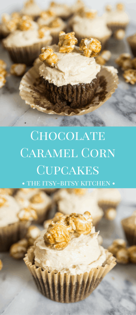 pinterest image for chocolate caramel corn cupcakes with text overlay