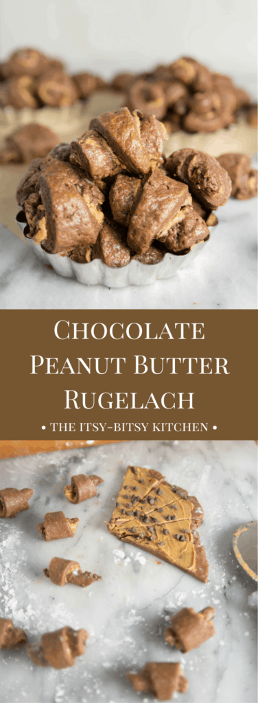 Pinterest image for chocolate peanut butter rugelach cookies with text overlay