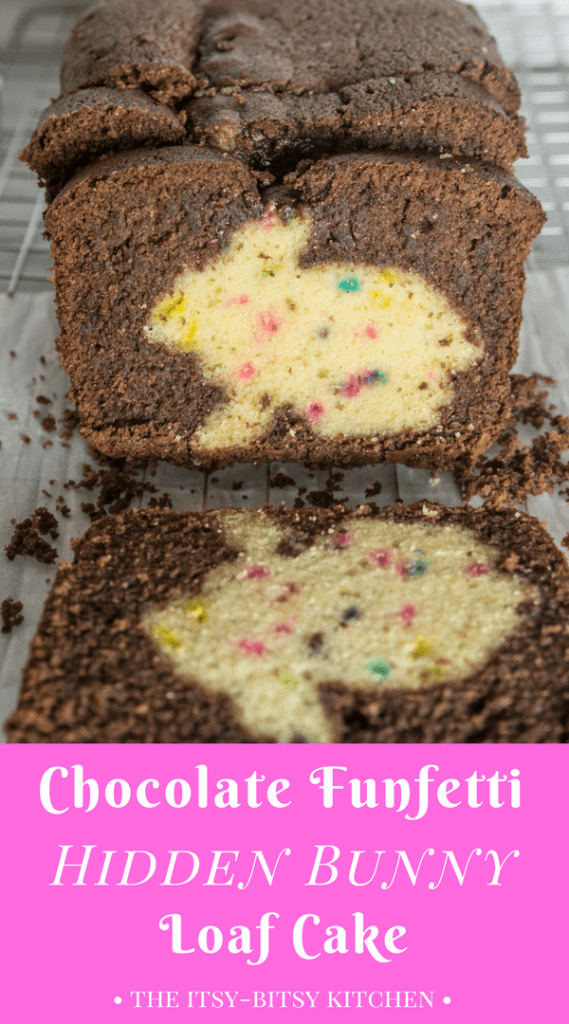 Pinterest image for chocolate funfetti hidden bunny cake with text overlay