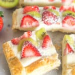 With a puff pastry crust, a delicious vanilla pastry cream filling, and plenty of fruit on top, this strawberry kiwi tart is a delicious end to any meal.