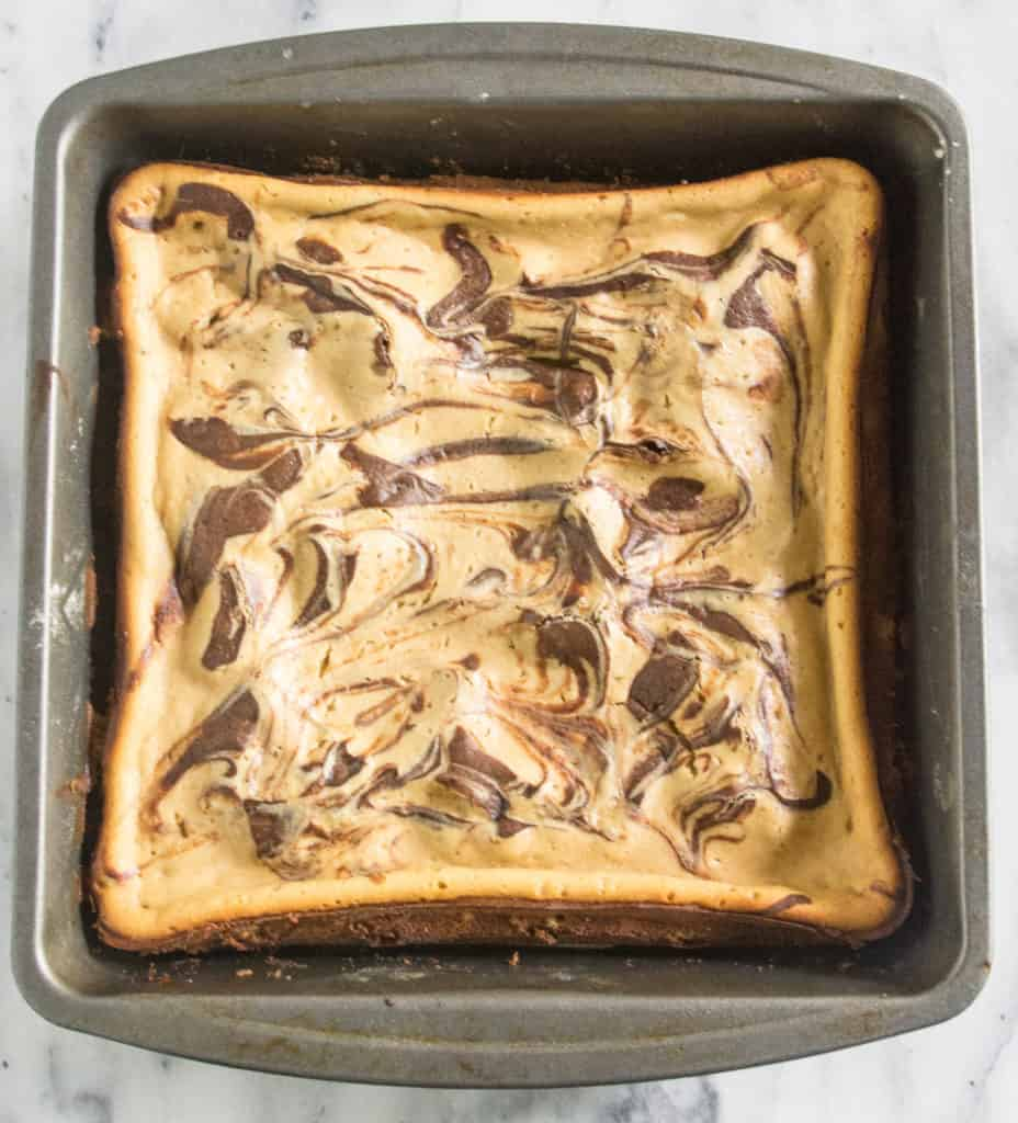 overhead shot of espresso cheesecake brownies after they come out of the oven