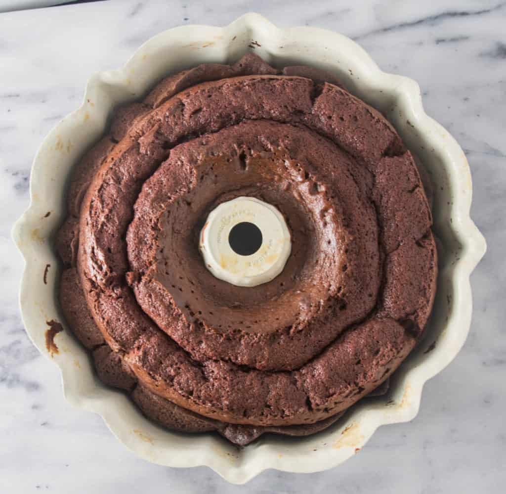 Kahlua bundt cake in the cake pan after it came out of the oven