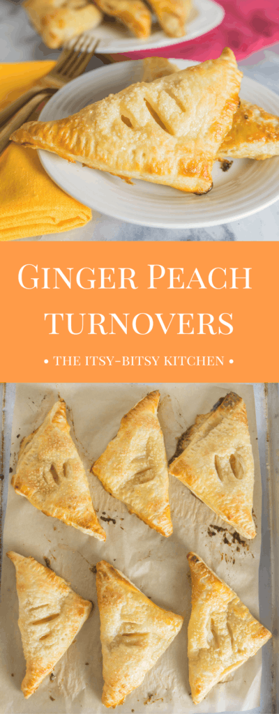 pinterest image for ginger peach turnovers with text overlay