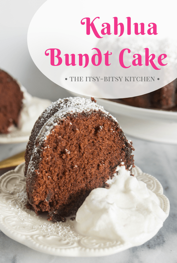 This simple + boozy Kahlua bundt cake is easy to whip together and is a sure hit with anyone who tries it! This is one recipe you'll make again and again! #kahlua #boozycake #bundtcake #cake
