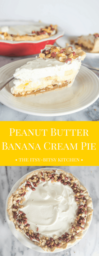 pinterest image for peanut butter banana cream pie with text overlay