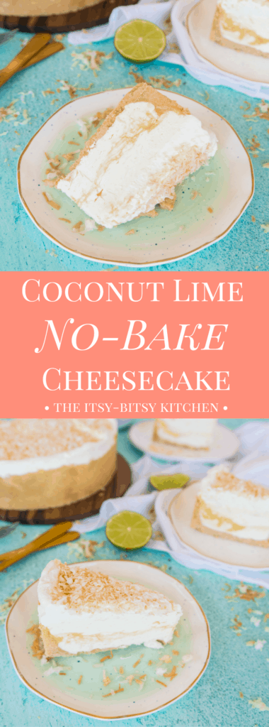 Pinterest image for coconut lime cheesecake with text overlay