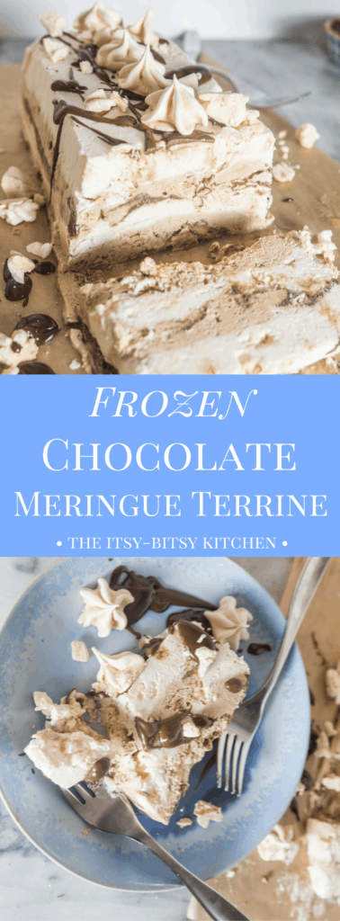 Pinterest image for frozen double chocolate mocha meringue terrine with text overlay