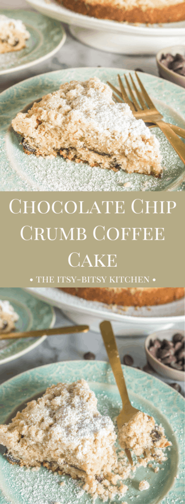 pinterest image for chocolate chip crumb coffee cake with text overlay