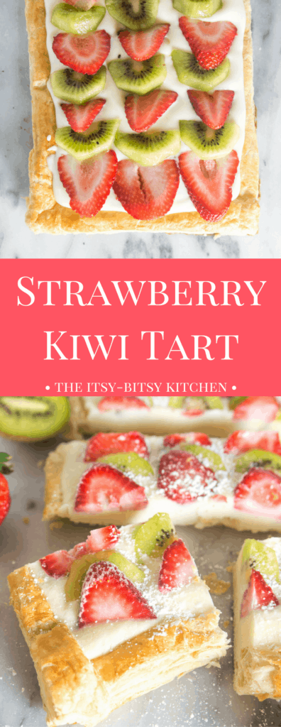 Pinterest image for strawberry kiwi tart with text overlay