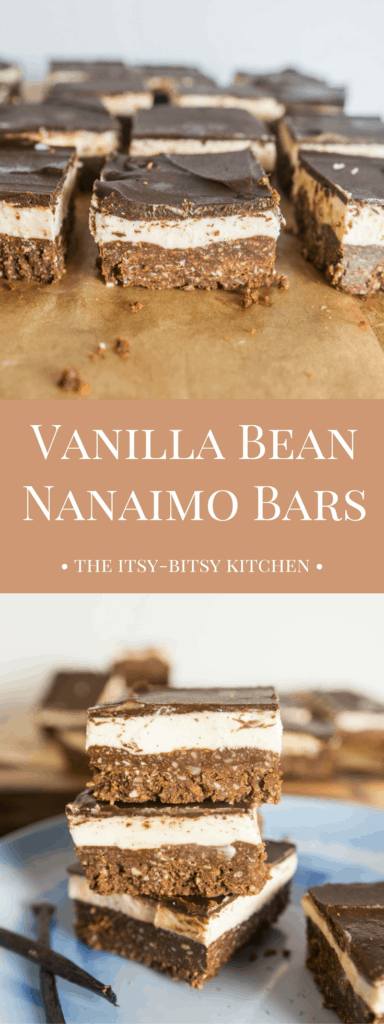 Pinterest image for vanilla bean Nanaimo bars with text overlay