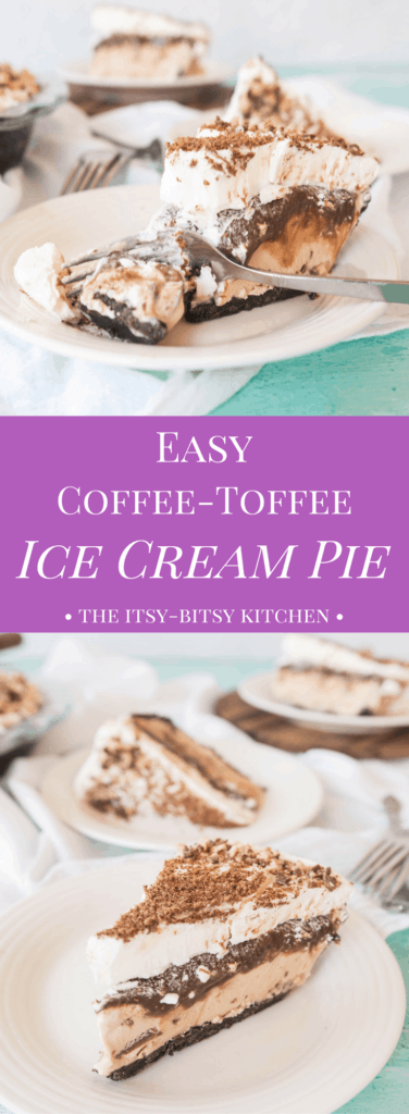 Pinterest image for easy coffee-toffee ice cream pie with text overlay