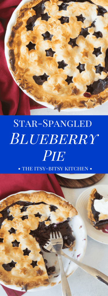Pinterest image for star-spangled blueberry pie with text overlay