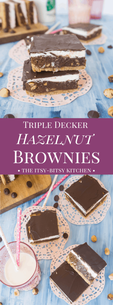 Pinterest image for triple decker hazelnut brownies with text overlay