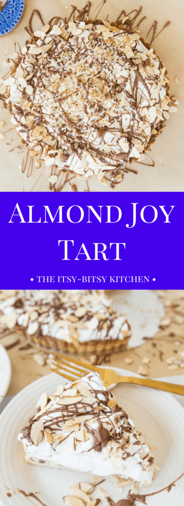 Pinterest image for almond joy tart with text overlay