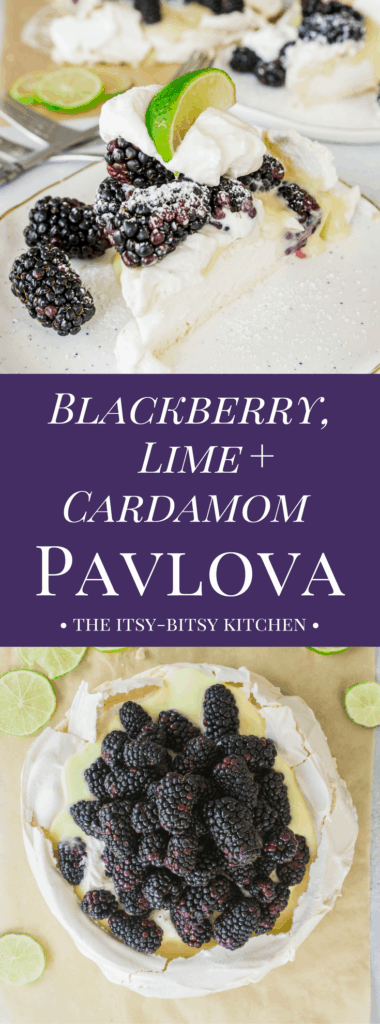pinterest image for pavlova with blackberry, lime, and cardamom with text overlay