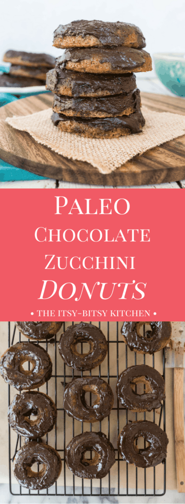 Pinterest image for paleo chocolate zucchini donuts with text overlay