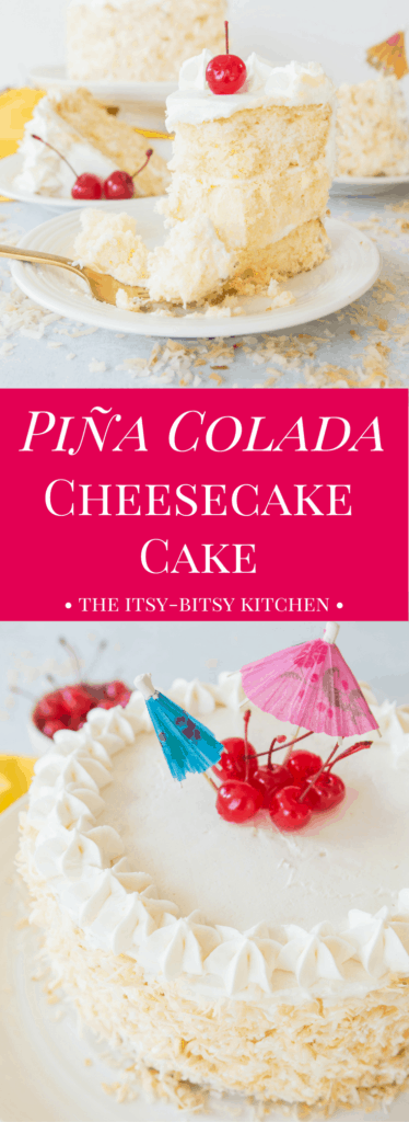 Pinterest image for piña colada cheesecake cake with text overlay