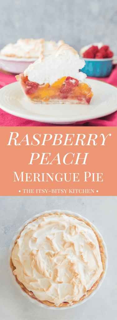 Pinterest image of raspberry peach meringue pie with text overlay