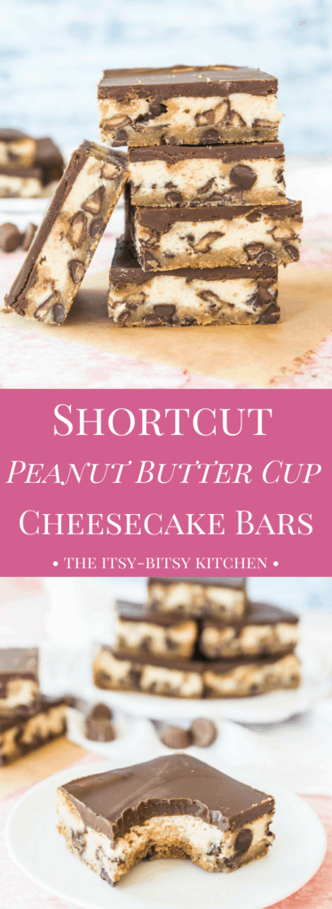 Pinterest image for peanut butter cup cheesecake bars with text overlay