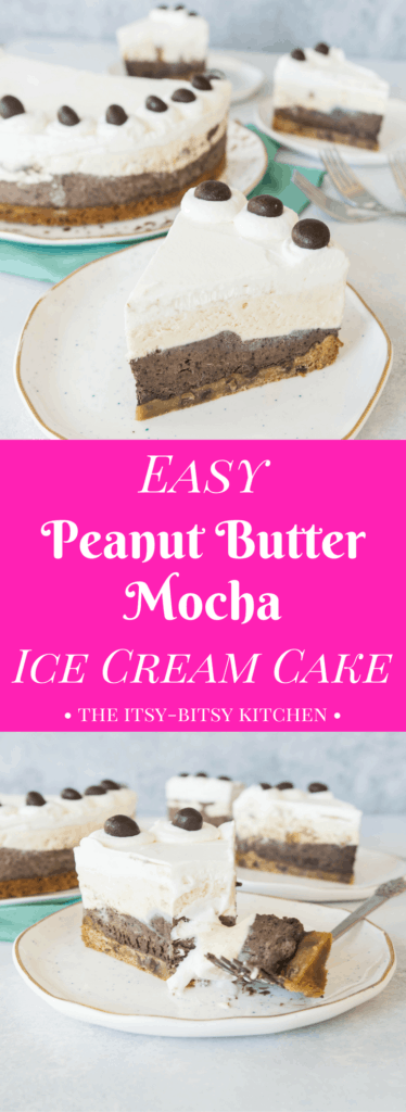 Pinterest image for easy peanut butter mocha ice cream cake with text overlay