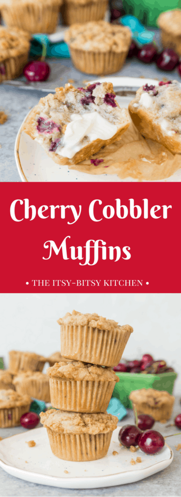 Pinterest image for cherry cobbler muffins with text overlay