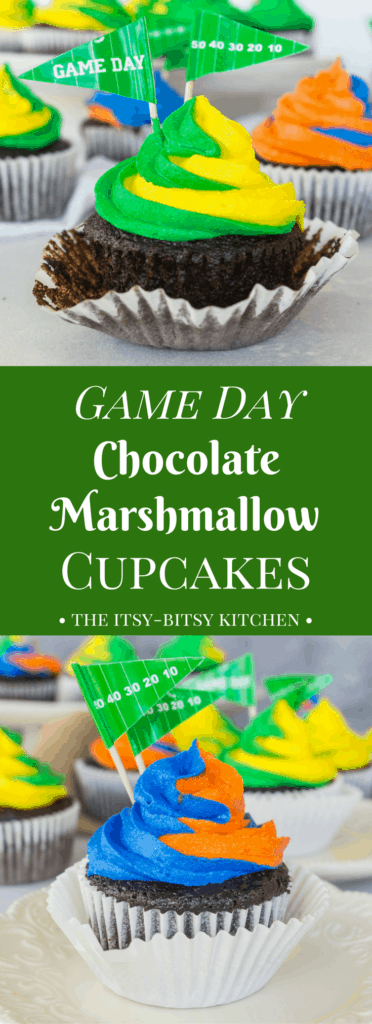 Pinterest image for game day chocolate marshmallow cupcakes with text overlay