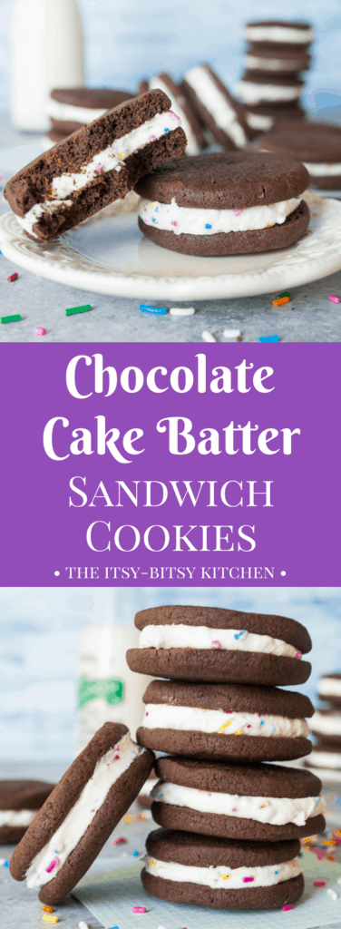 Pinterest image for cake batter chocolate sandwich cookies with text overlay