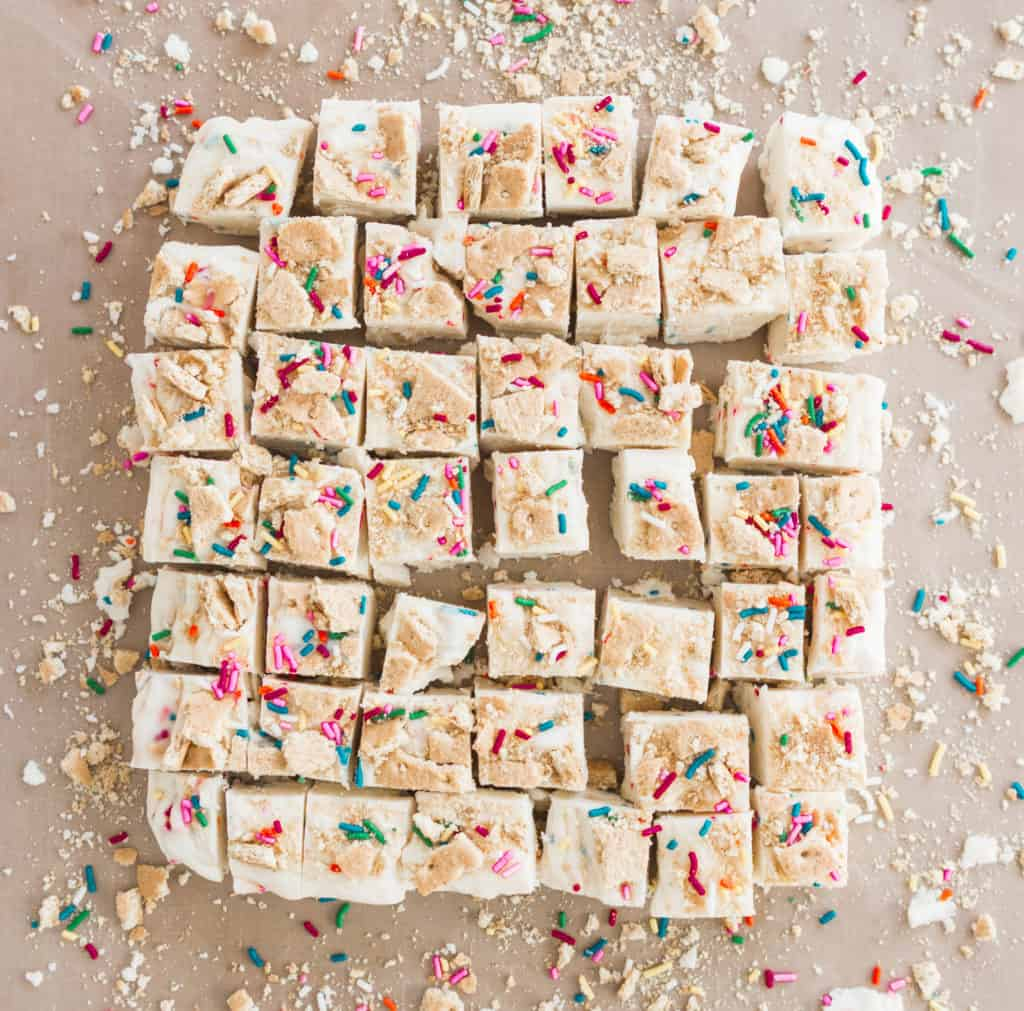 overhead photo of sliced white chocolate fudge