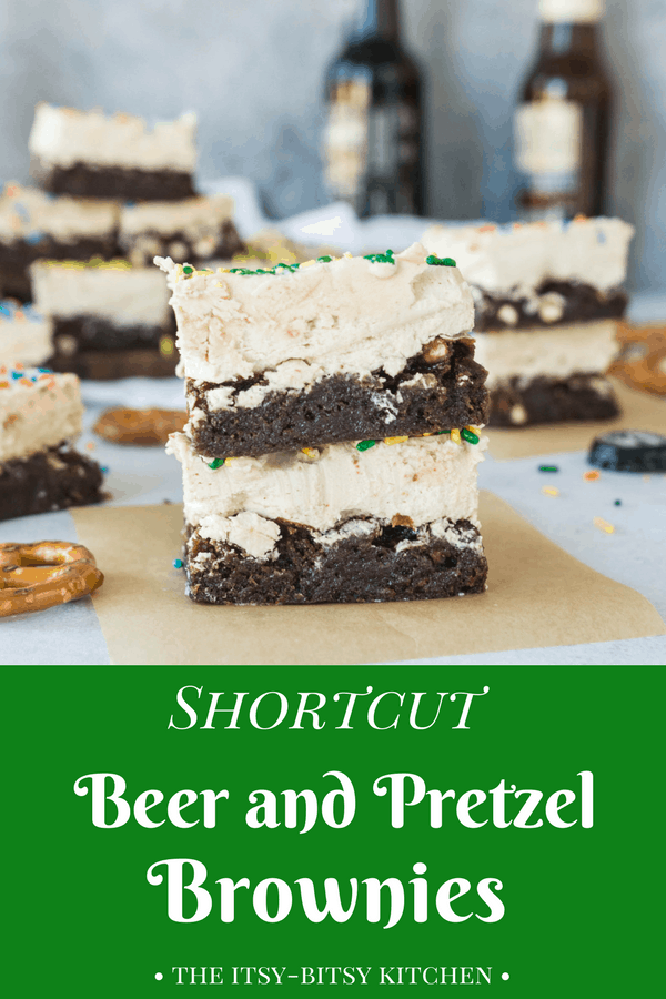 Pinterest image for shortcut beer + pretzel brownies with text overlay