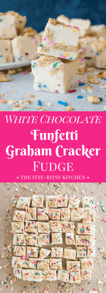 Pinterest image for white chocolate graham cracker fudge with text overlay