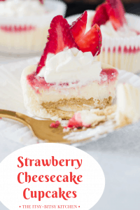 pin image for mini strawberry cheesecakes